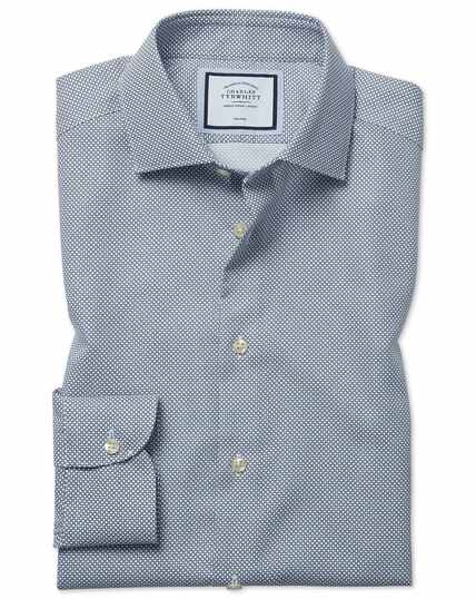 Slim fit non-iron circle print navy shirt