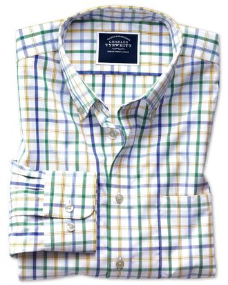 Extra slim fit button-down non-iron poplin green multi check shirt