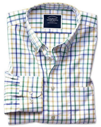 Slim fit button-down non-iron poplin green multi check shirt