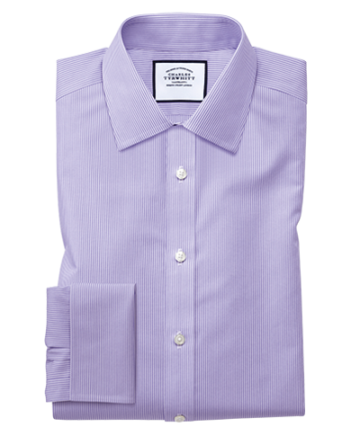 Slim fit non-iron Bengal stripe lilac shirt