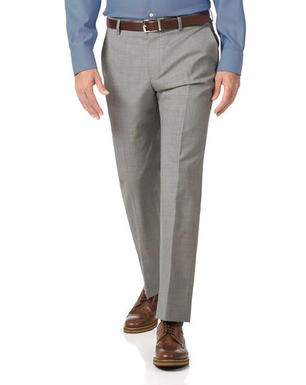 Light grey slim fit lightweight wool pants