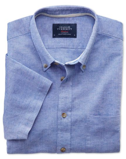 Classic fit short sleeve mid blue shirt