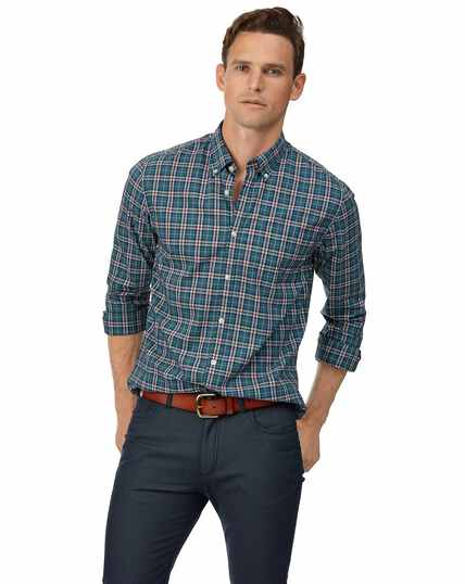 Extra slim fit soft washed stretch poplin teal and burgundy check shirt