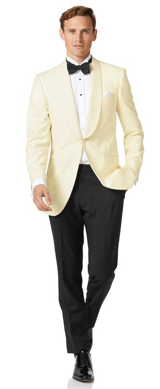 Slim Fit Smoking Anzug mit Schalkragen in Cremefarben