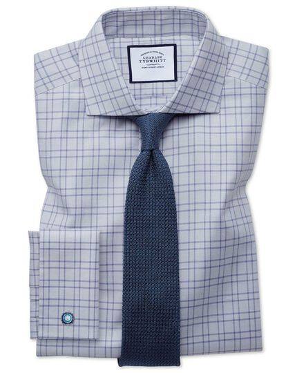 Extra slim fit textured check  grey shirt