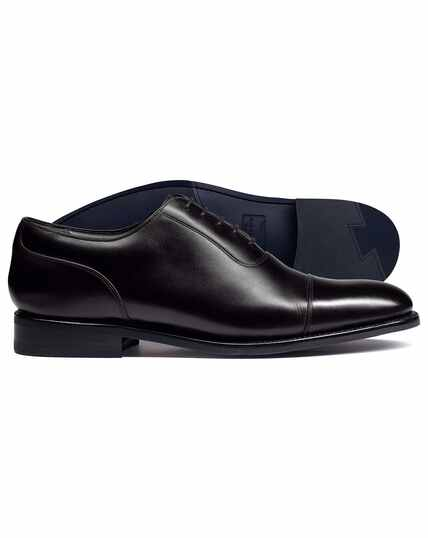 Black Goodyear welted Oxford toe cap performance shoe