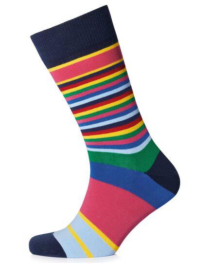 Multi block stripe socks
