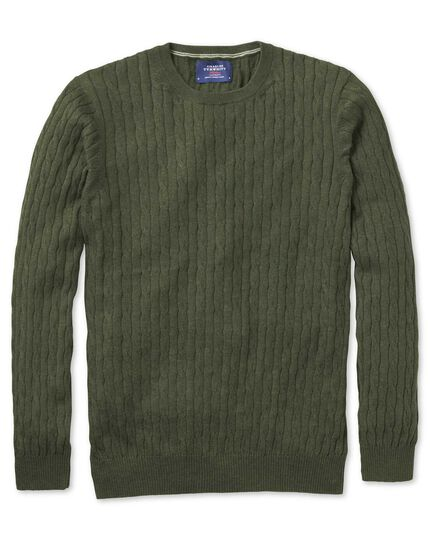 Forest green cotton cashmere cable crew neck sweater