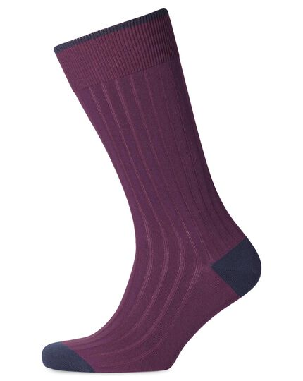 Purple cotton rib socks