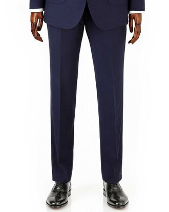 Navy slim fit crepe business suit trousers