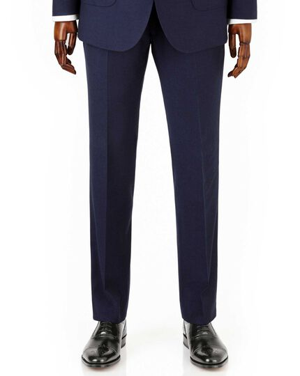 Navy slim fit crepe business suit pants