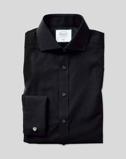 Cutaway Collar Non-Iron Poplin Shirt  - Black