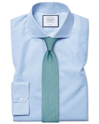 Super slim fit spread collar non-iron Bengal stripe blue shirt