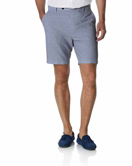 Sky blue cotton linen shorts