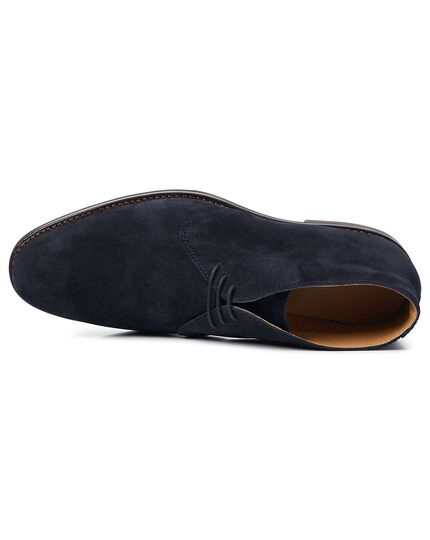 Navy Goodyear welted chukka boots