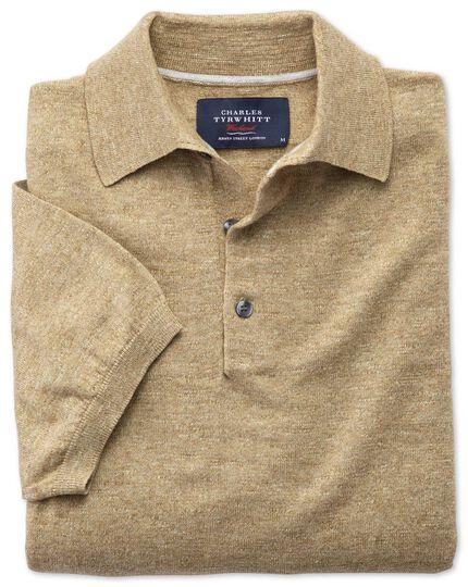 Fawn heather short sleeve polo collar jumper