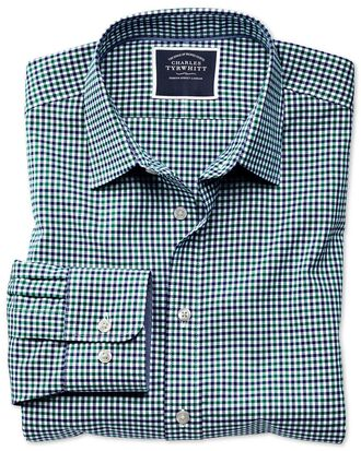 Slim fit non-iron green and blue gingham Oxford shirt