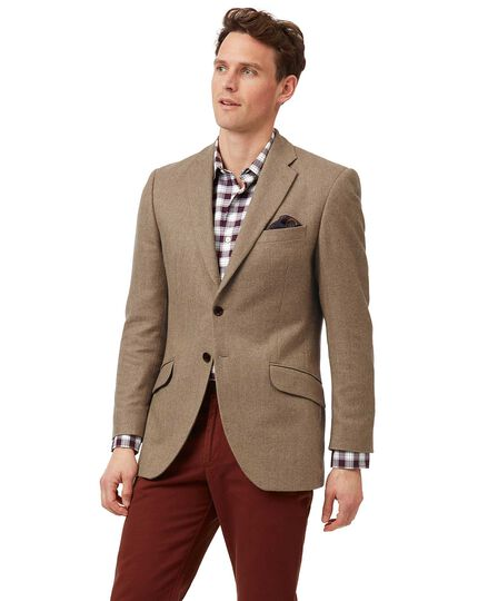 Slim fit tan herringbone British wool and cashmere jacket