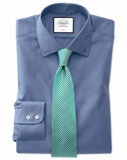 Slim fit mid-blue non-iron pinpoint Oxford shirt