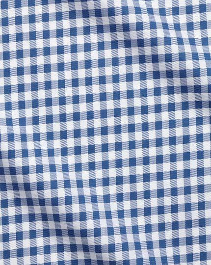 Extra slim fit non-iron gingham mid blue shirt