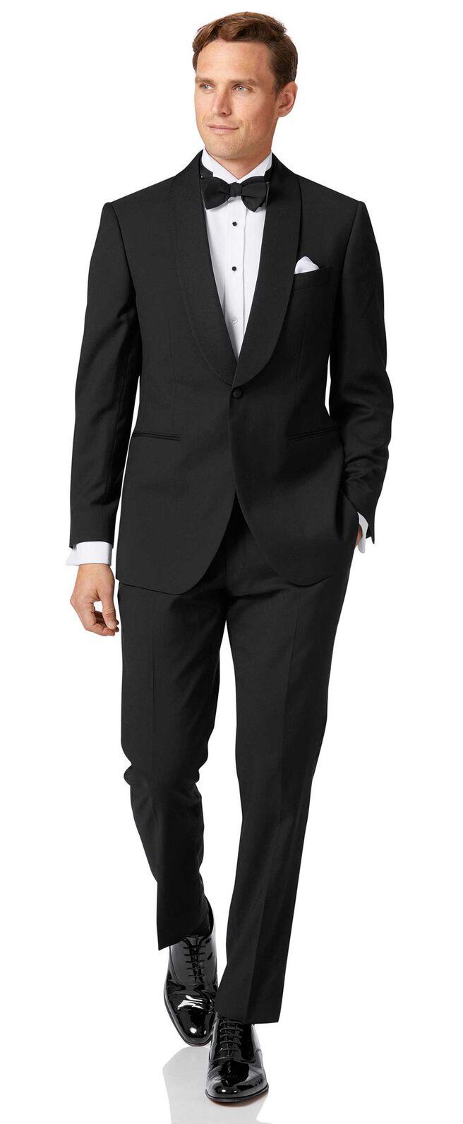 Black slim fit shawl collar dinner suit