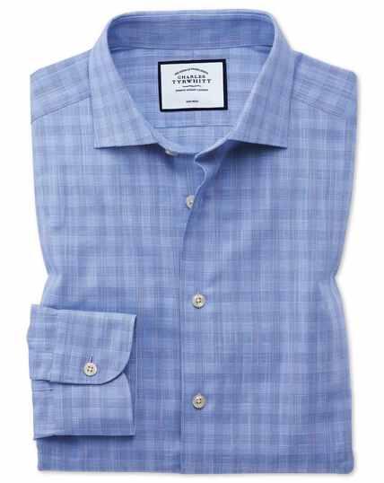 Business-Casual Slim Fit Hemd aus ägyptische Slub-Baumwolle mit Karos in Himmelblau