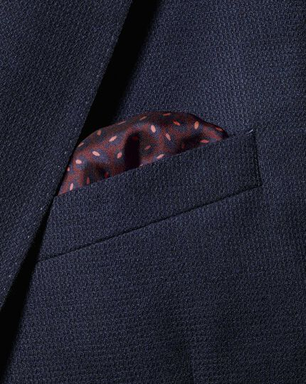 2-in-1 Silk Face Mask & Pocket Square - Burgundy & Navy