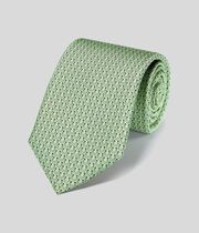 Horseshoe Silk Print Classic Tie - Light Green