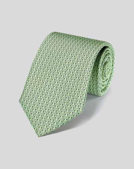 Horseshoe Silk Print Tie - Light Green