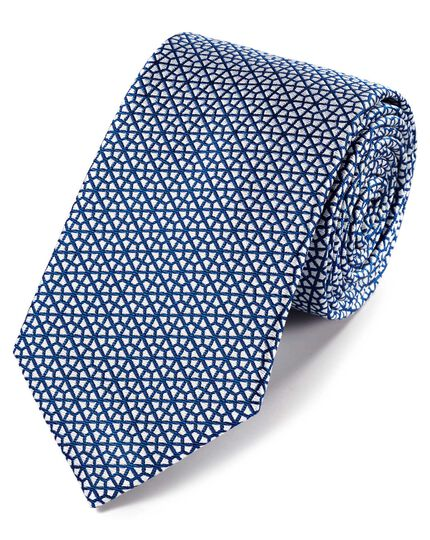 Royal blue and white silk geometric classic tie