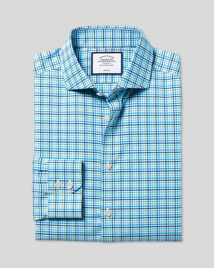 Cutaway Collar Non-Iron Tyrwhitt Cool Poplin Check Shirt - Blue & Green