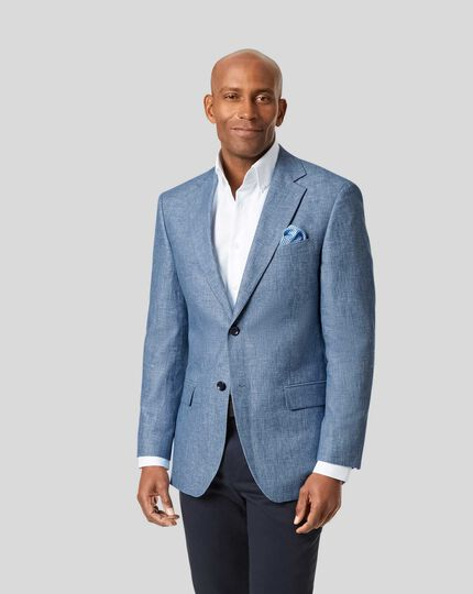 Cotton Linen Jacket - Light Blue