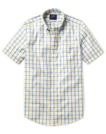 Slim fit yellow and blue short sleeve gingham soft washed non-iron Tyrwhitt Cool shirt