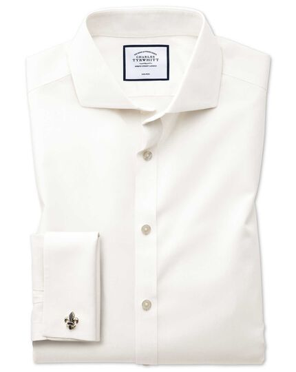 Extra slim fit cutaway non-iron poplin cream shirt