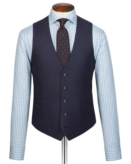 Navy adjustable fit Italian suit waistcoat