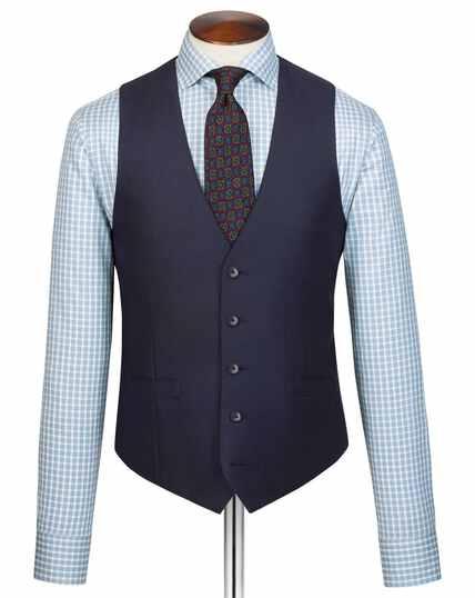 Navy adjustable fit Italian suit waistcoat
