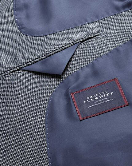 Slim fit black and blue semi-plain stretch cotton blazer