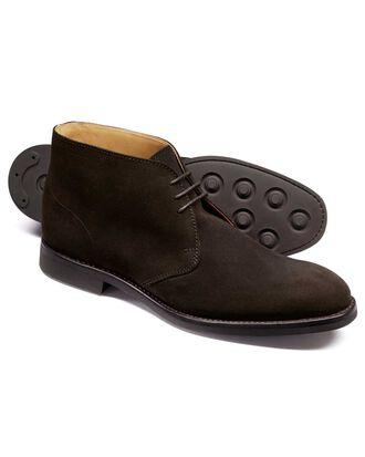 Dark brown suede Goodyear Welted chukka boots