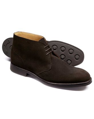 Dark brown suede Goodyear Welted chukka boots