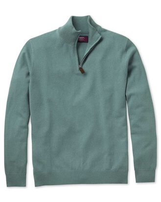 Light green cashmere zip neck jumper