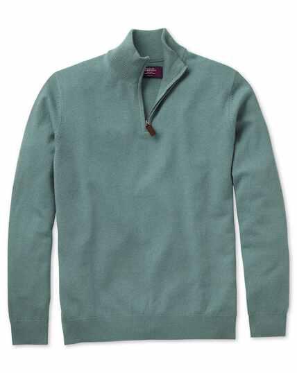 Light green cashmere zip neck jumper