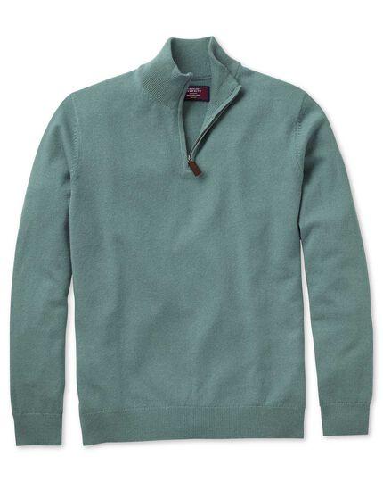 Light green cashmere zip neck sweater