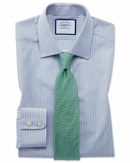 Slim fit Egyptian cotton poplin blue and green fine stripe shirt