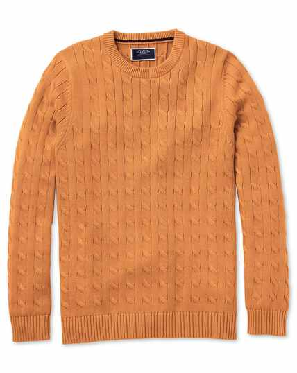 Orange Pima cotton cable crew neck jumper