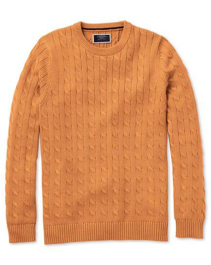Pull orange en coton Pima à col rond et torsades