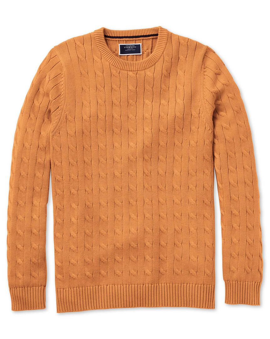 Orange Pima cotton cable crew neck jumper