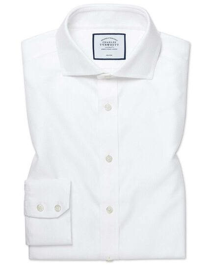Extra slim fit cutaway  non-iron Buckingham weave white shirt