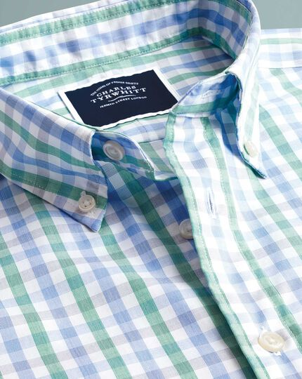 Slim fit green and blue short sleeve gingham soft washed non-iron Tyrwhitt Cool shirt