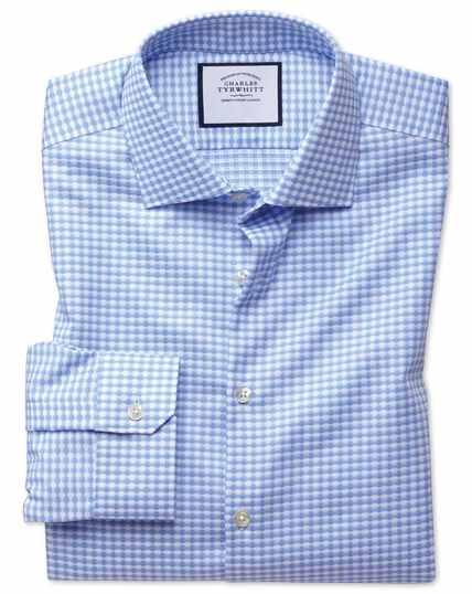 Chemise business casual bleu ciel super slim fit à motif pied-de-coq et textures modernes sans repassage