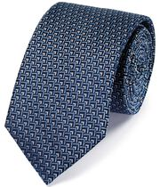 Blue and white silk triangle geometric classic tie